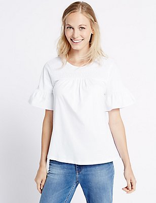 Pure Cotton Shirred Flare Sleeve T-Shirt, SOFT WHITE, catlanding