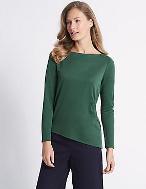 Modal Rich Asymmetric Long Sleeve T-Shirt, GREEN, catlanding