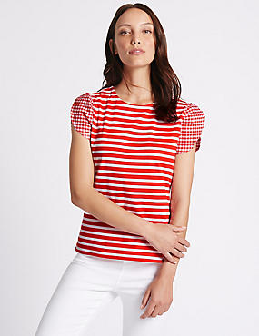Pure Cotton Striped Gingham Sleeve T-Shirt, RED MIX, catlanding