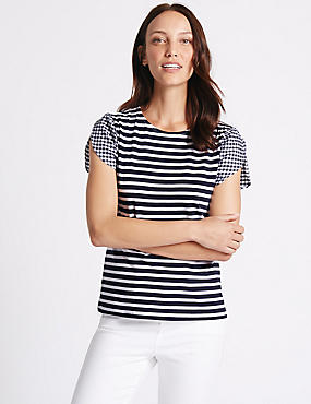 Pure Cotton Striped Gingham Sleeve T-Shirt, NAVY MIX, catlanding