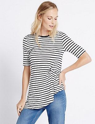 Striped Twist Front Tunic, NAVY MIX, catlanding