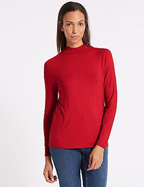 Funnel Neck Long Sleeve Top, RED, catlanding