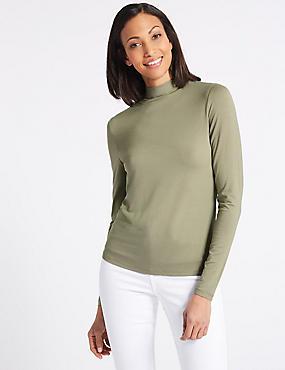 Funnel Neck Long Sleeve Top, GREEN, catlanding