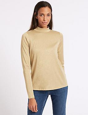 Funnel Neck Long Sleeve Top, GOLD, catlanding