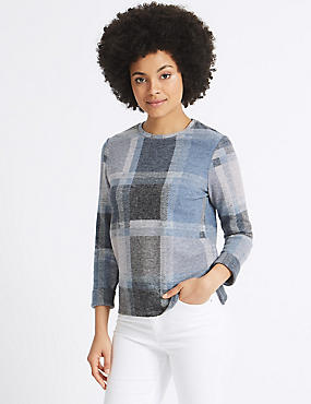 Checked Round Neck Long Sleeve Sweatshirt , MULTI, catlanding