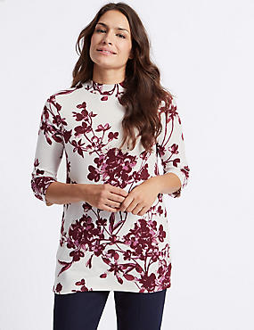 Floral Print Funnel Neck 3/4 Sleeve Tunic, IVORY MIX, catlanding
