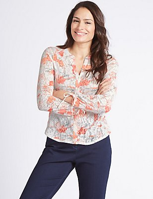 Cotton Rich Floral Print Long Sleeve Shirt , IVORY MIX, catlanding