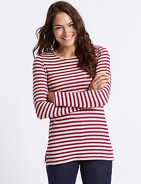 Striped Round Neck Long Sleeve Tunic, CAMEL MIX, catlanding