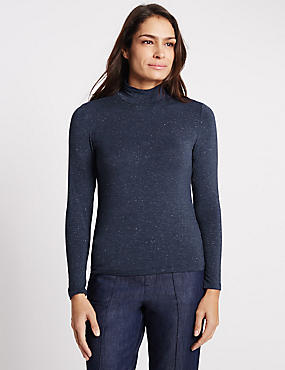 Sparkle Long Sleeve Jersey Top, NAVY MIX, catlanding