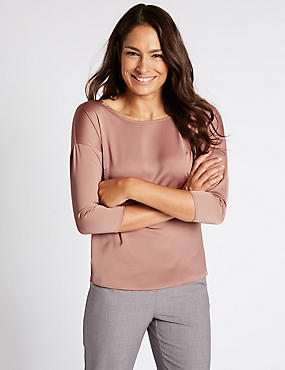 Round Neck 3/4 Sleeve T-Shirt, BLUSH PINK, catlanding