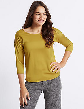 Round Neck 3/4 Sleeve T-Shirt, CHARTREUSE, catlanding