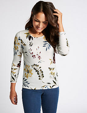 Floral Print Round Neck Long Sleeve T-Shirt, GREY MIX, catlanding