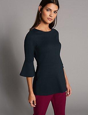 Flute Sleeve Round Neck T-Shirt, NAVY, catlanding