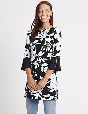 Printed Longline 3/4 Sleeve Tunic, BLACK MIX, catlanding