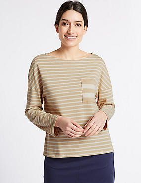 Pure Cotton Striped Pocket T-Shirt, IVORY MIX, catlanding