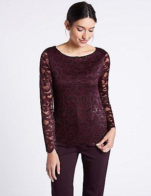 Sparkly Lace Slash Neck Long Sleeve Top, BURGUNDY, catlanding