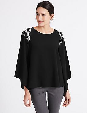 Embellished Shoulder Flute Sleeve Top, BLACK, catlanding