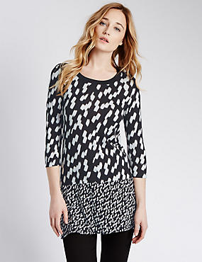 3/4 Sleeve Brushstroke Print Tunic