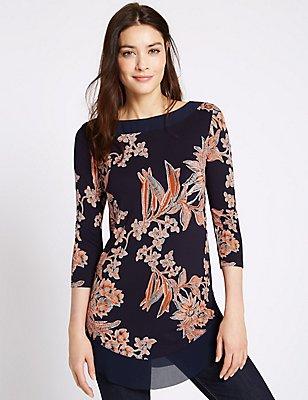 Floral Print 3/4 Sleeve Jersey Top, NAVY MIX, catlanding