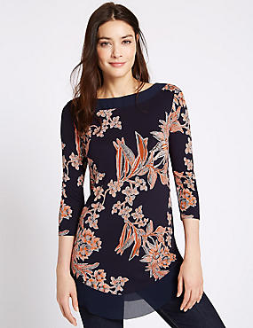 Floral Print 3/4 Sleeve Jersey Top, NAVY MIX, catlanding