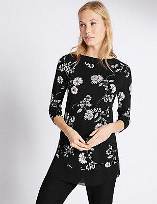 Floral Print Slash Neck 3/4 Sleeve Tunic, BLACK MIX, catlanding