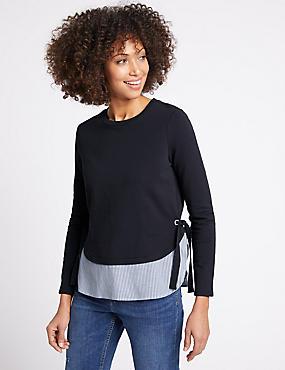 Cotton Rich Tie Side Double Layer T-Shirt, NAVY MIX, catlanding