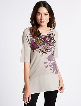 Floral Print Chiffon Hem Half Sleeve T-Shirt, LAVENDER MIX, catlanding