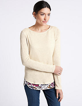 Textured Slash Neck Long Sleeve Top, OATMEAL MIX, catlanding