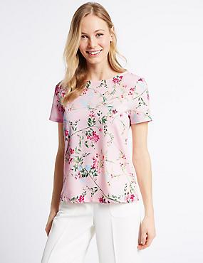Floral Print Short Sleeve Jersey Top, LIGHT PINK MIX, catlanding