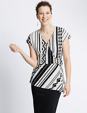 Tribal Print Wrap Top