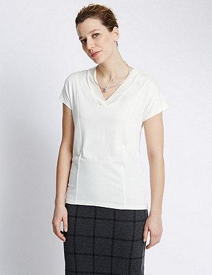 Short Sleeve V-Neck Top, IVORY, catlanding