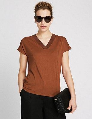 Short Sleeve V-Neck Top, TAN, catlanding