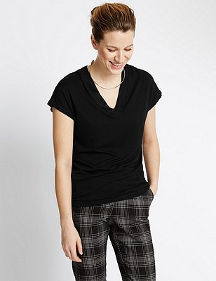 Short Sleeve V-Neck Top, BLACK, catlanding