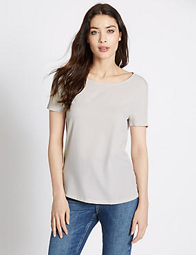 Short Sleeve Jersey Top, SILVER GREY, catlanding