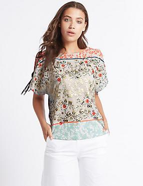 Floral Foil Print Split Sleeve T-Shirt, IVORY MIX, catlanding