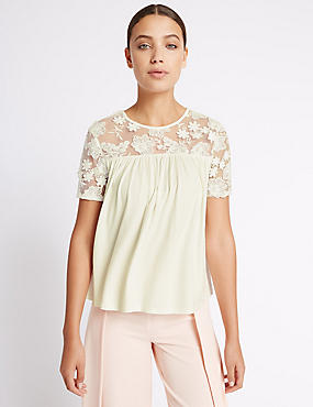 Sheer Yoke Embroidered Half Sleeve T-Shirt, IVORY MIX, catlanding
