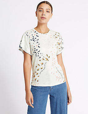 Cotton Blend Printed Short Sleeve T-Shirt, IVORY MIX, catlanding