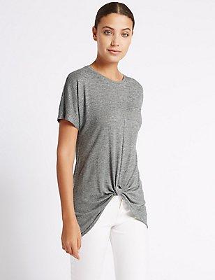 Knot Front Long Line T-shirt, SILVER, catlanding