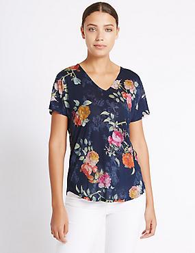Rose Print V-Neck Short Sleeve T-Shirt, NAVY MIX, catlanding