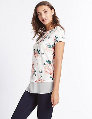 Cotton Blend Floral Print T-Shirt, IVORY MIX, catlanding