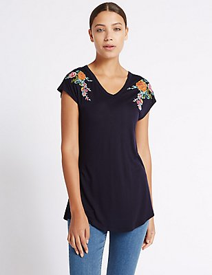 Pure Modal Floral Embroidered T-Shirt, NAVY MIX, catlanding