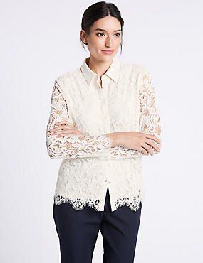 Lace Long Sleeve Shirt, IVORY, catlanding