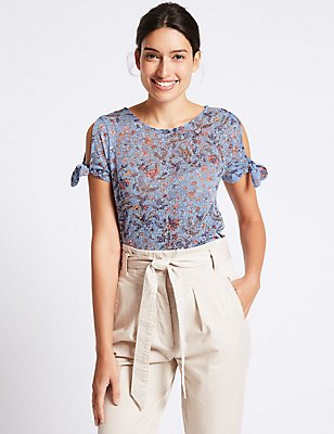 Floral Burnout Print Tie Sleeve T-Shirt, BLUE MIX, catlanding
