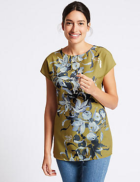 Floral Foil Print Short Sleeve T-Shirt, ANTIQUE BRASS, catlanding