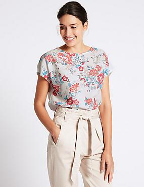 Floral Foil Print Short Sleeve T-Shirt, IVORY MIX, catlanding
