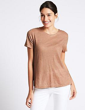 Cotton Blend Metallic Open Back T-Shirt, BRONZE, catlanding