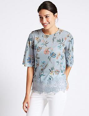 Floral Print Lace Insert T-Shirt, LIGHT BLUE, catlanding