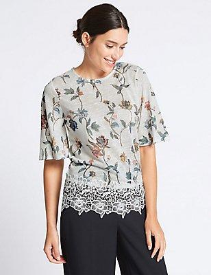 Floral Print Lace Insert T-Shirt, WHITE MIX, catlanding