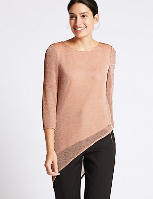 Metallic Asymmetric 3/4 Sleeve Tunic , BLUSH, catlanding