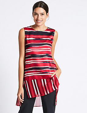 Striped Round Neck Sleeveless Tunic, RED MIX, catlanding